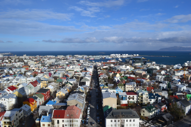 Looking North West from the top of Hallgrimskikja, Iceland's Cathedral.